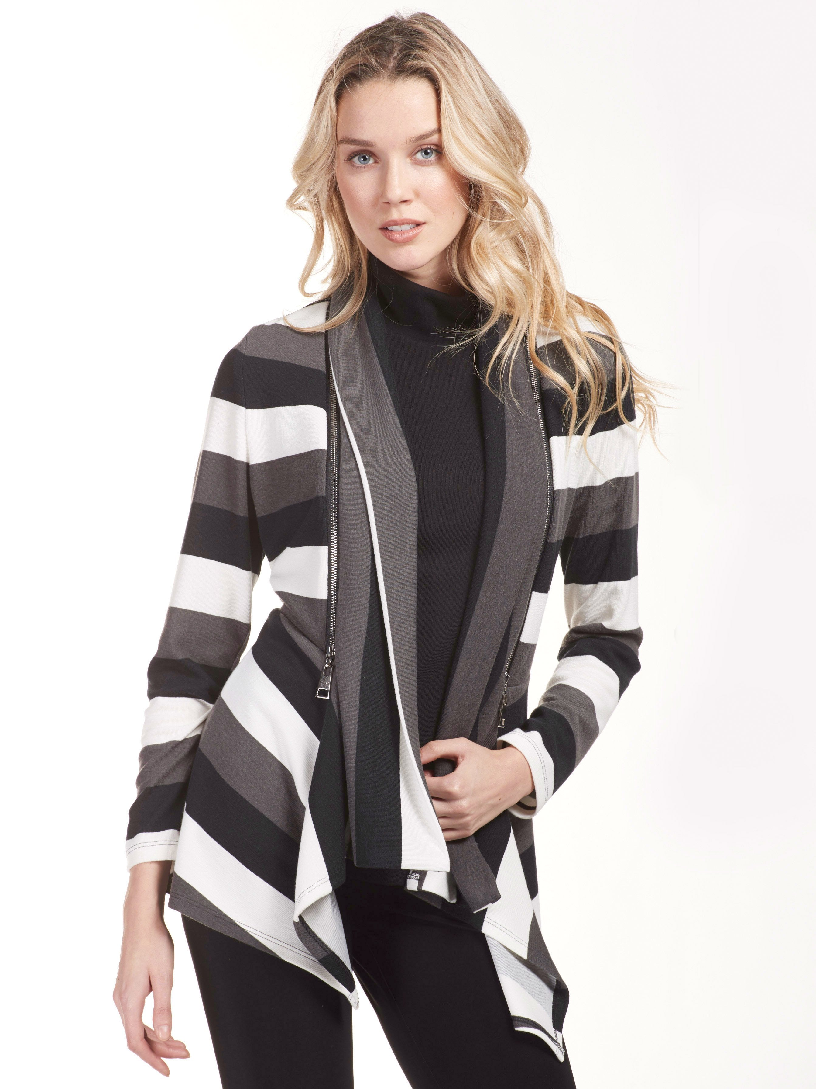 Charcoal/Grey Striped Jersey Cardigan With Zips
