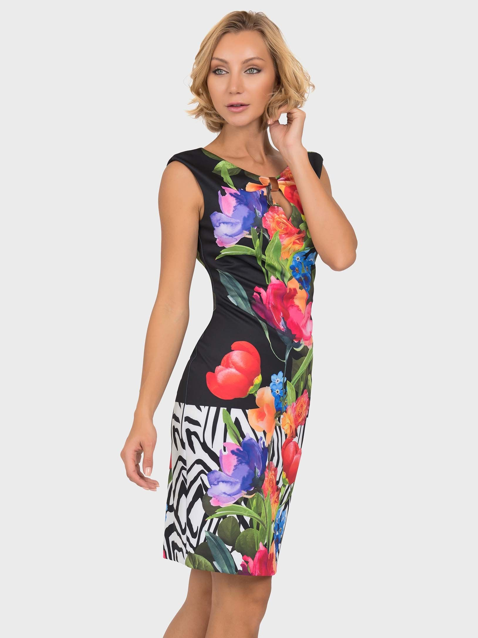 Joseph Ribkoff Bright Flower & Zebra Border Print Shift Dress