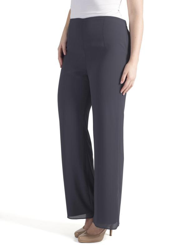 Pewter Satin Trim Chiffon Trouser