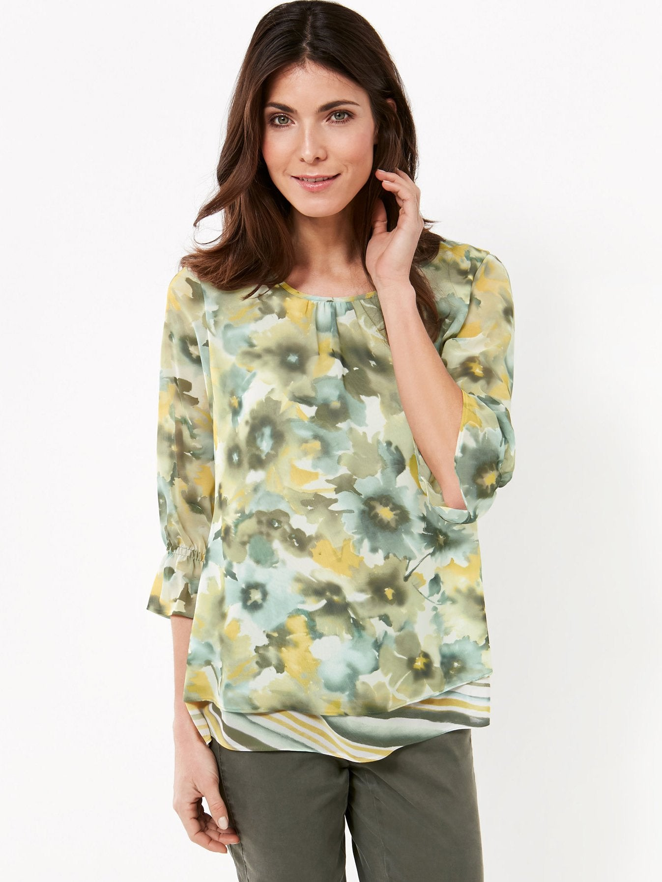 GERRY WEBER Khaki/Aqua/Yellow Floral Print Woven Top