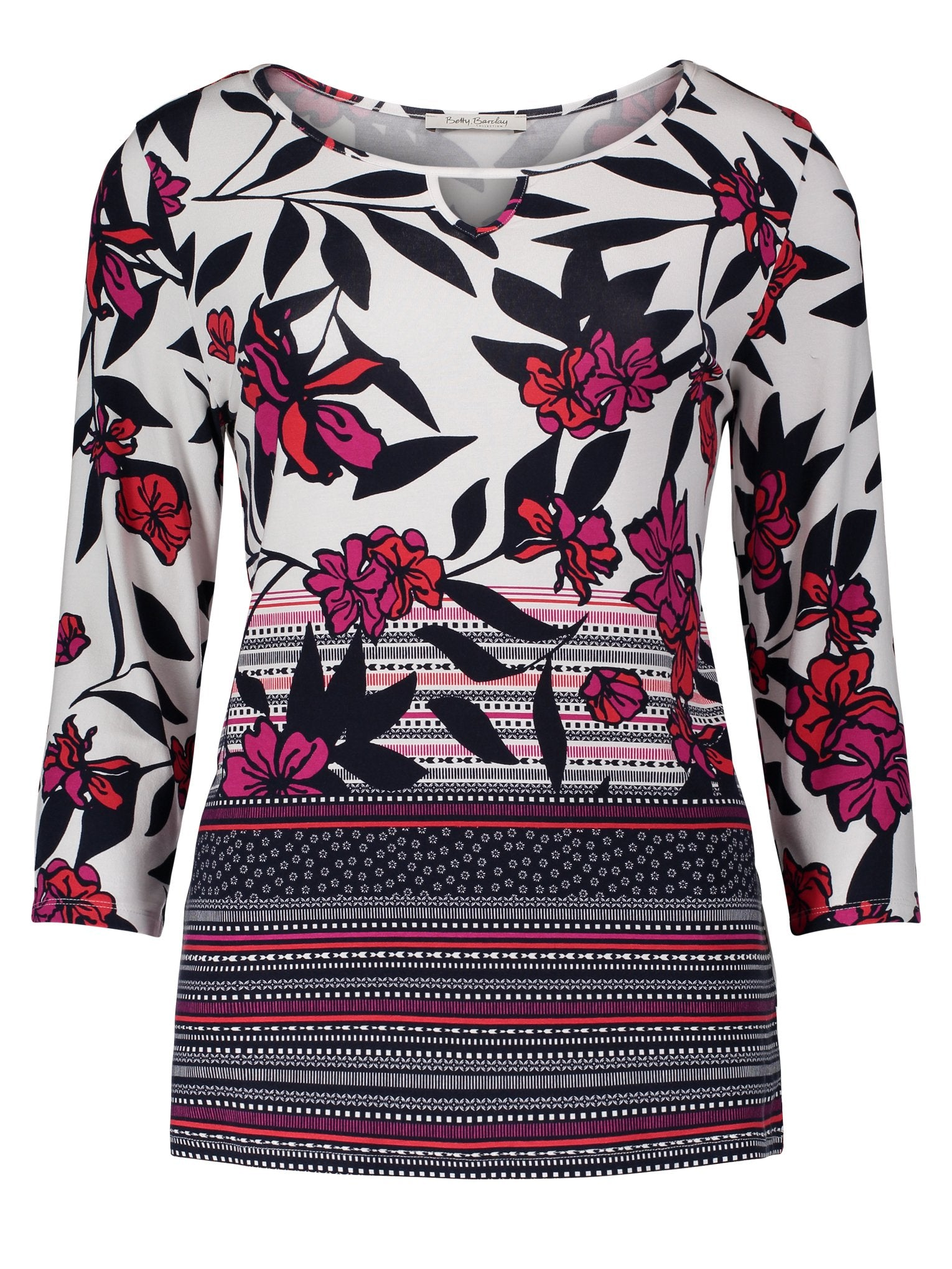 Betty Barclay Cream/Pink Floral & Leaf Print Jersey Top
