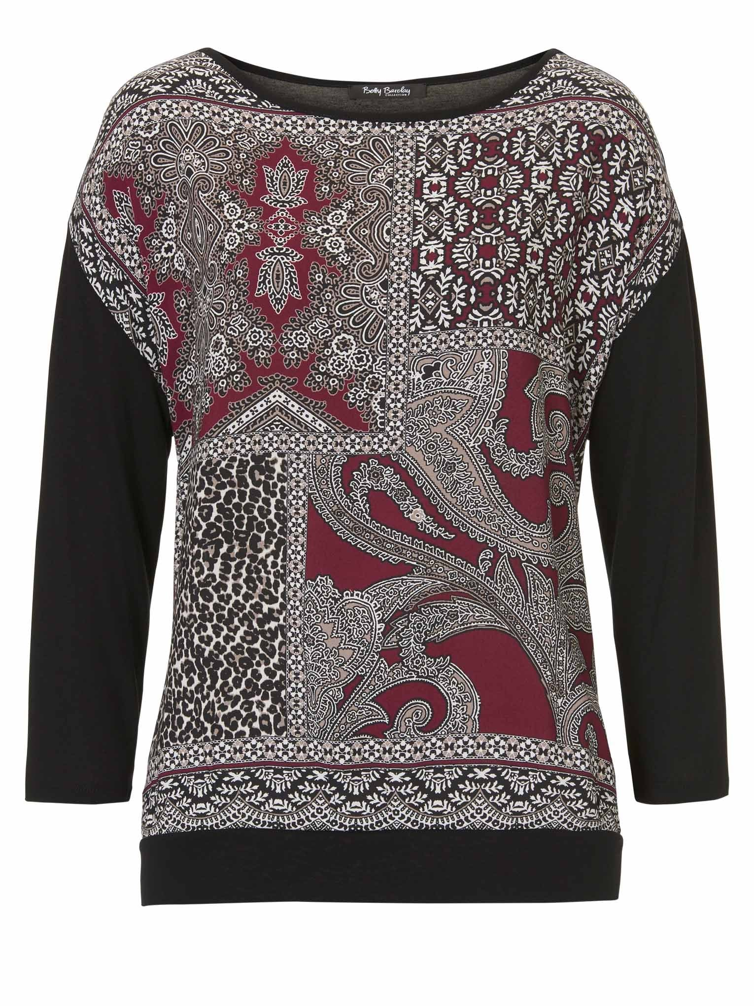 Betty Barclay Tile-print Woven-front Top