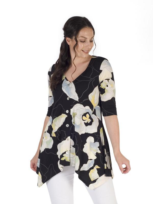 Black/Apple Abstract Floral Printed Jersey Top