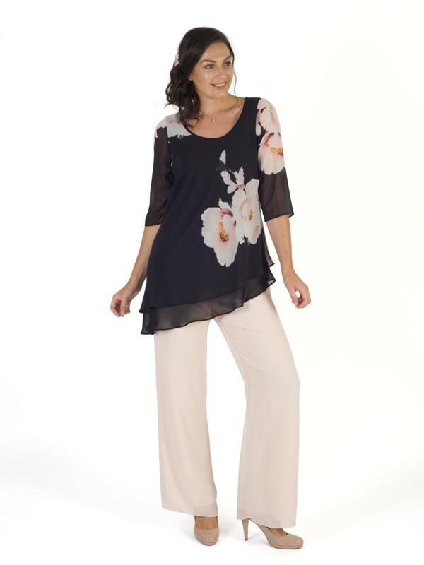 Black/Blush Floral Bloom Placement Print Layered Tunic