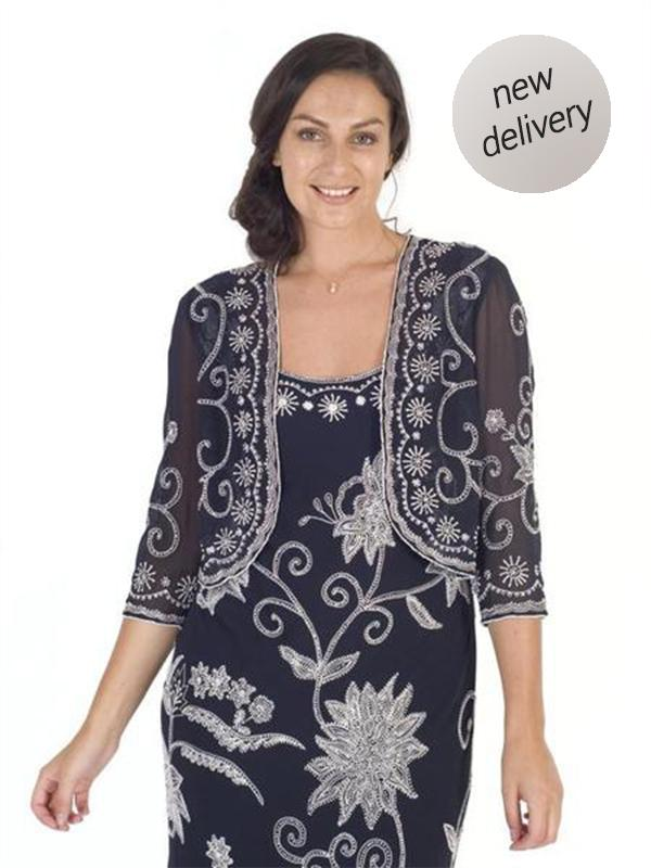 Navy/Ivory Embroidered and Beaded Bolero