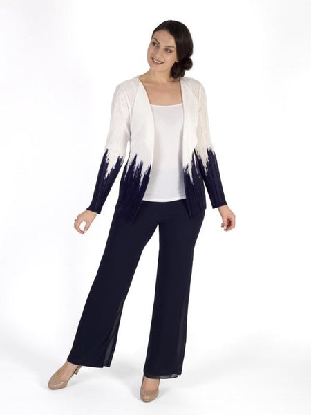 Ivory/Navy Split Colour Print Crush Pleat Shrug