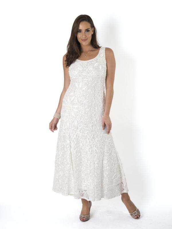 Ivory Lace Cornelli Embroidered Dress - Size 10 - 24