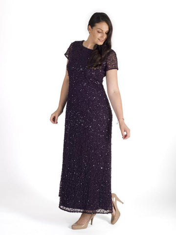 Amethyst Allover Sequin Short Sleeve Dress