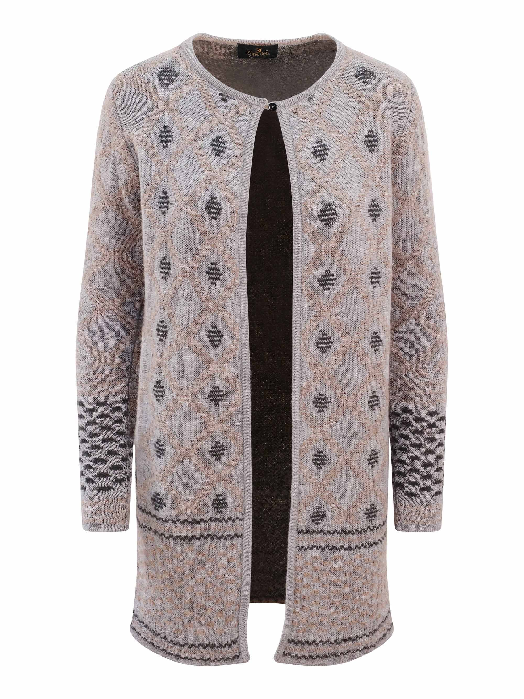 Eugen Klein Grey/Beige Jacquard Knit Edge to Edge Cardigan