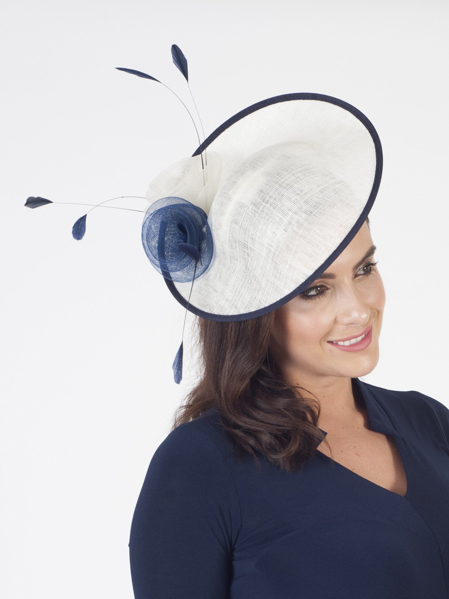 Navy/Ivory Sinamay Base With Crin Rosettes and Coque Feathers Hatinator