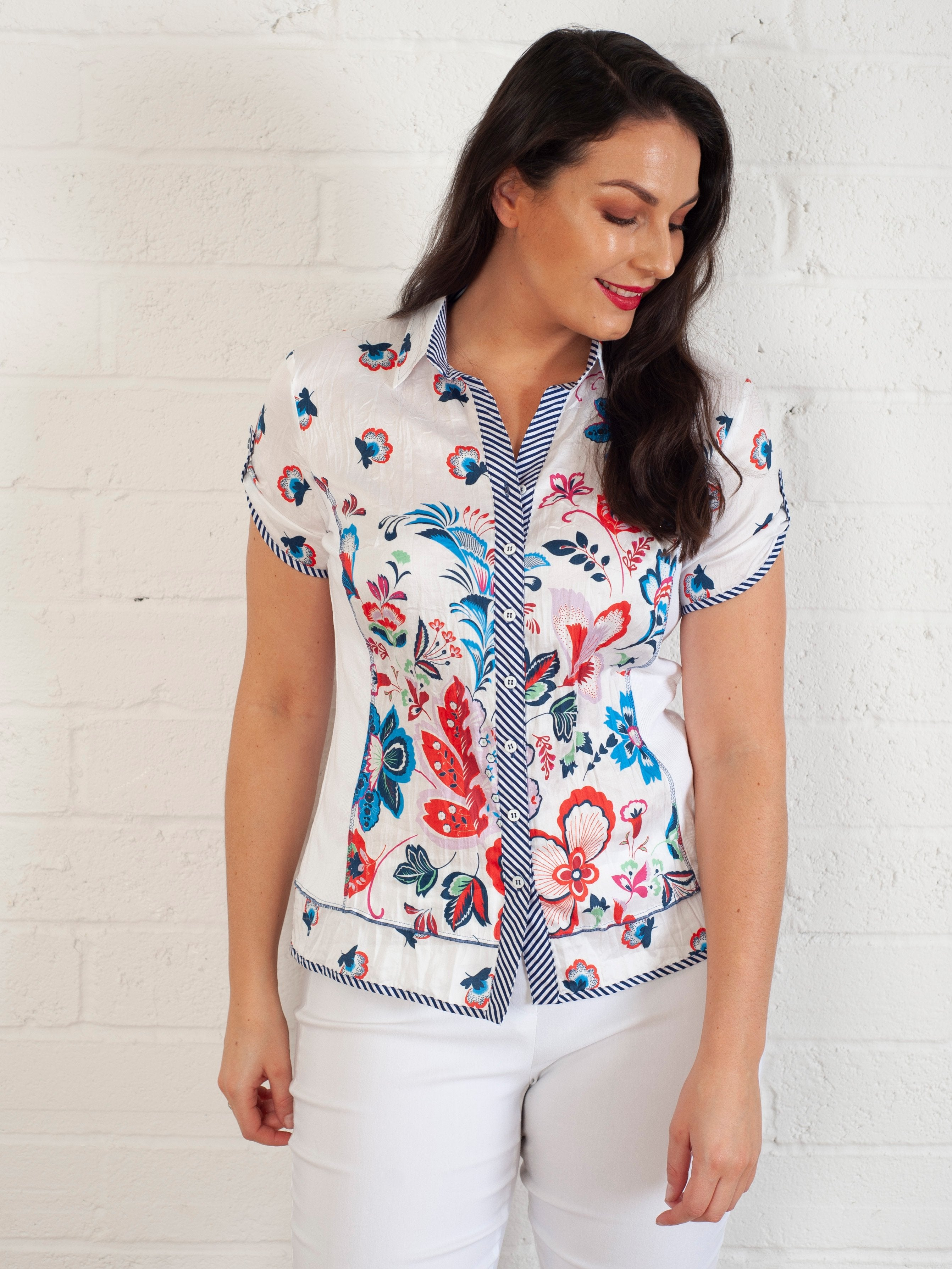 Just White White And Flower Crinkle Cotton Shirt