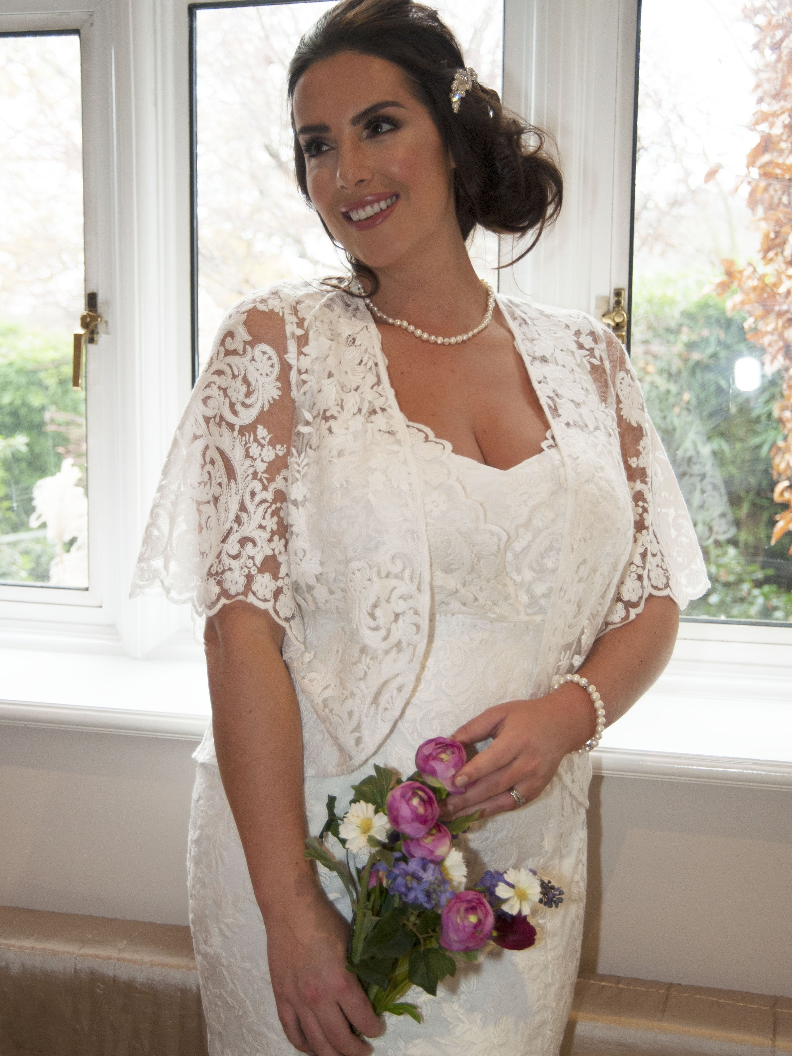Ivory Scallop Sleeve Emb. Lace Shrug