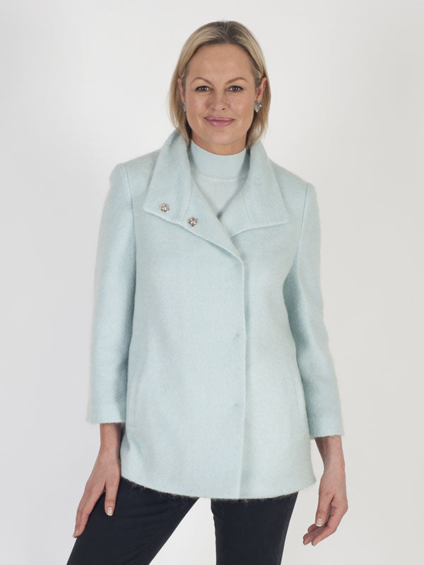 Basler Mint Mohair and Alpaca Blend Short Coat