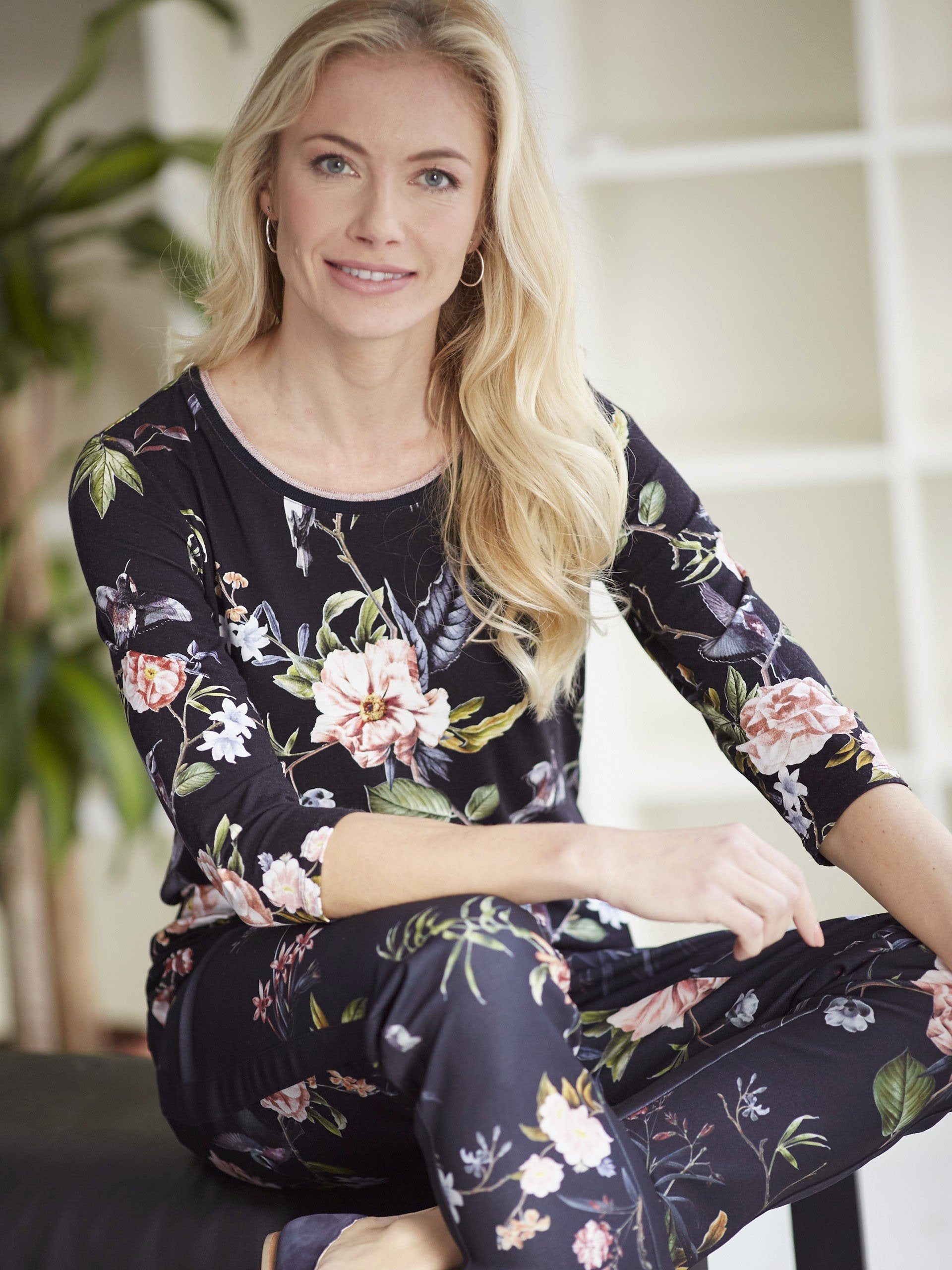 Betty Barclay Blue/Pink Floral Print Jersey Top