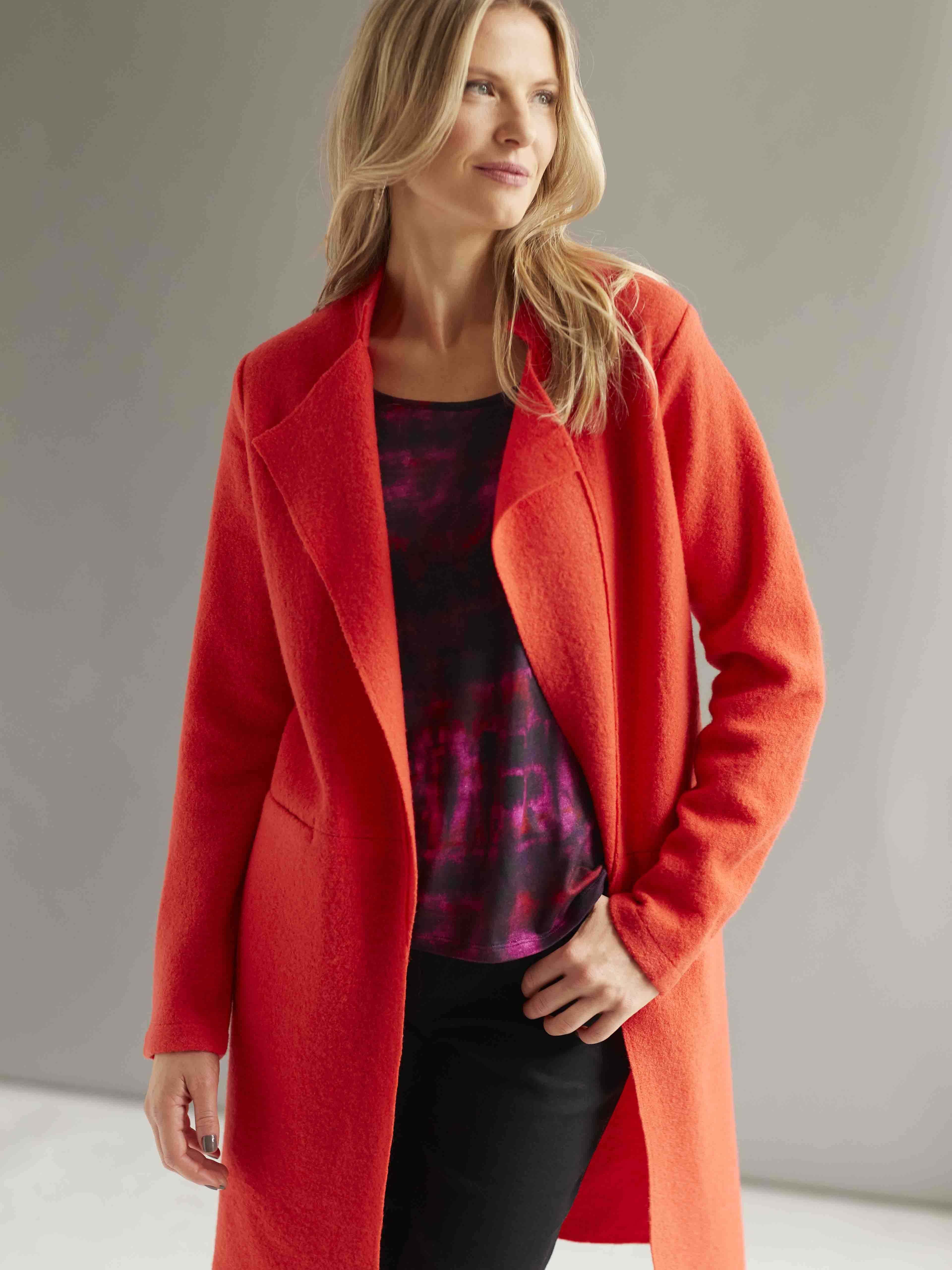 CONRAD C Tomato Red Boiled Wool Coat