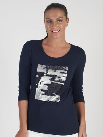 Frank Walder Navy Sequin Top