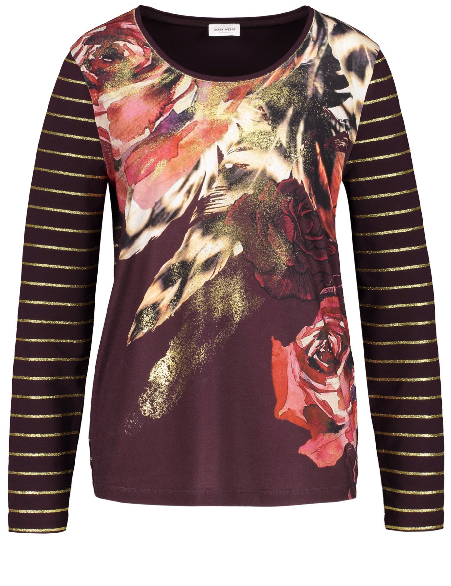 Gerry Weber Bordeaux Print Long Sleeve Top With Front Print And Stripe Back