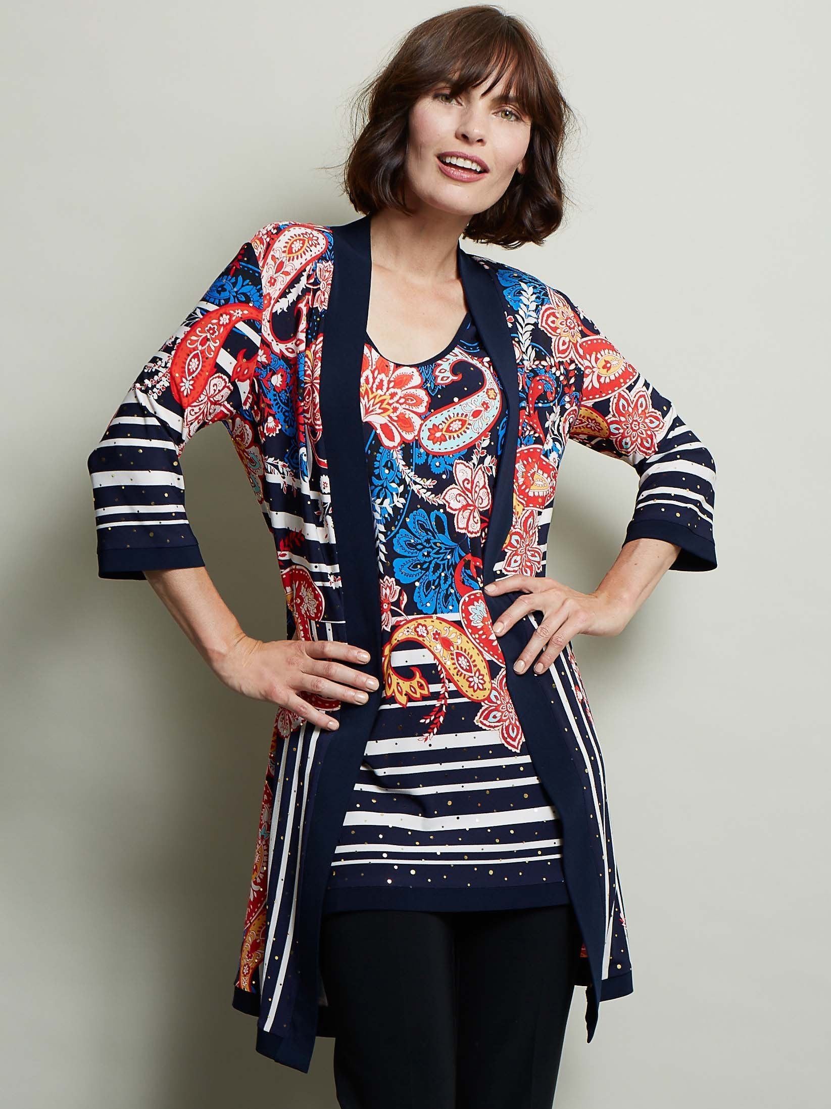Joseph Ribkoff Two-In-One Blue/Orange Multi Print Top and Jacket