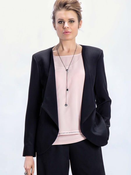 Michaela Louisa Black Edge To Edge tailored Jacket
