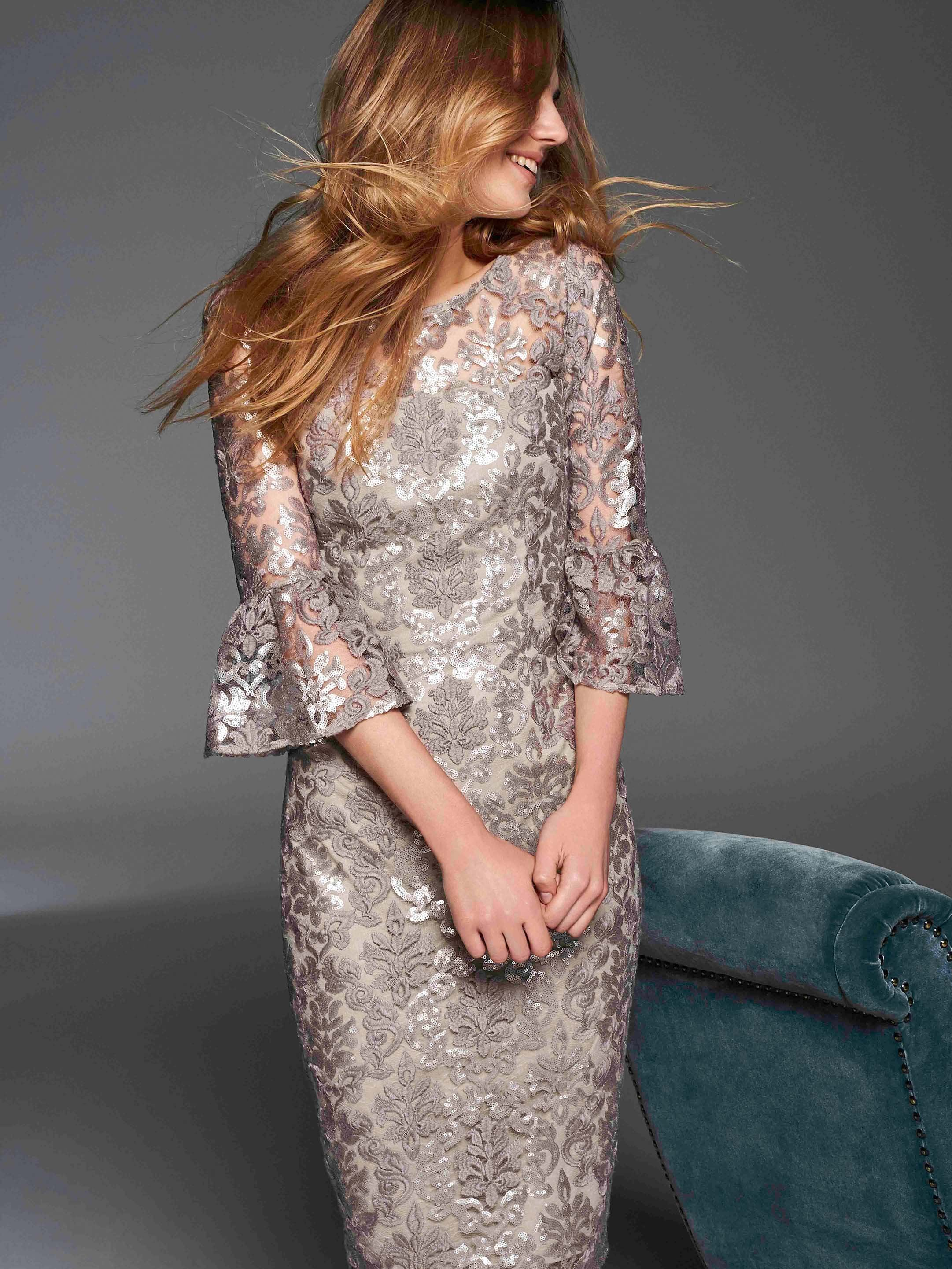 Gina Bacconi Taupe Candace Sequin Embroidery Dress
