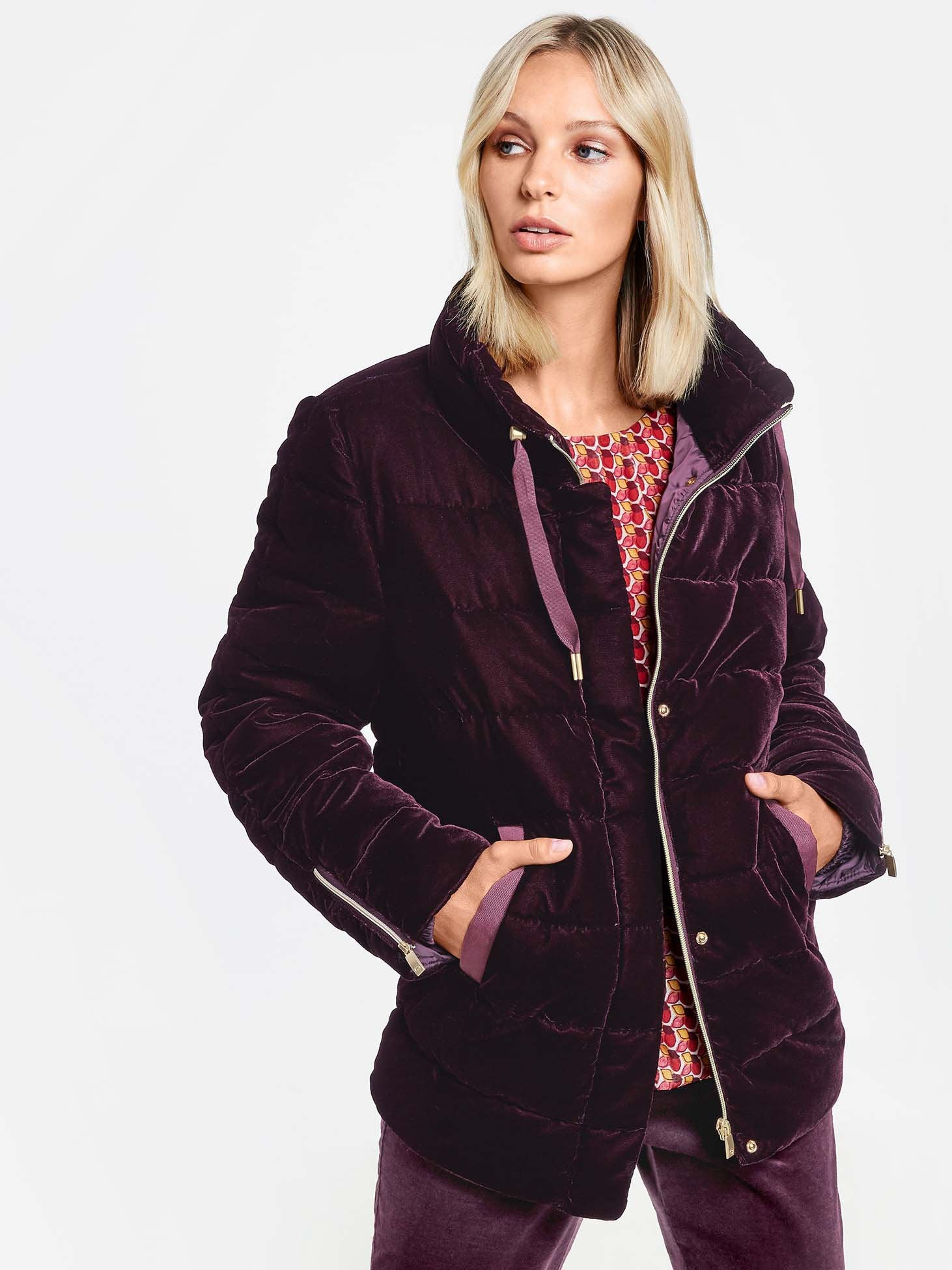 Gerry Weber Bordeaux Velvet Padded Coat