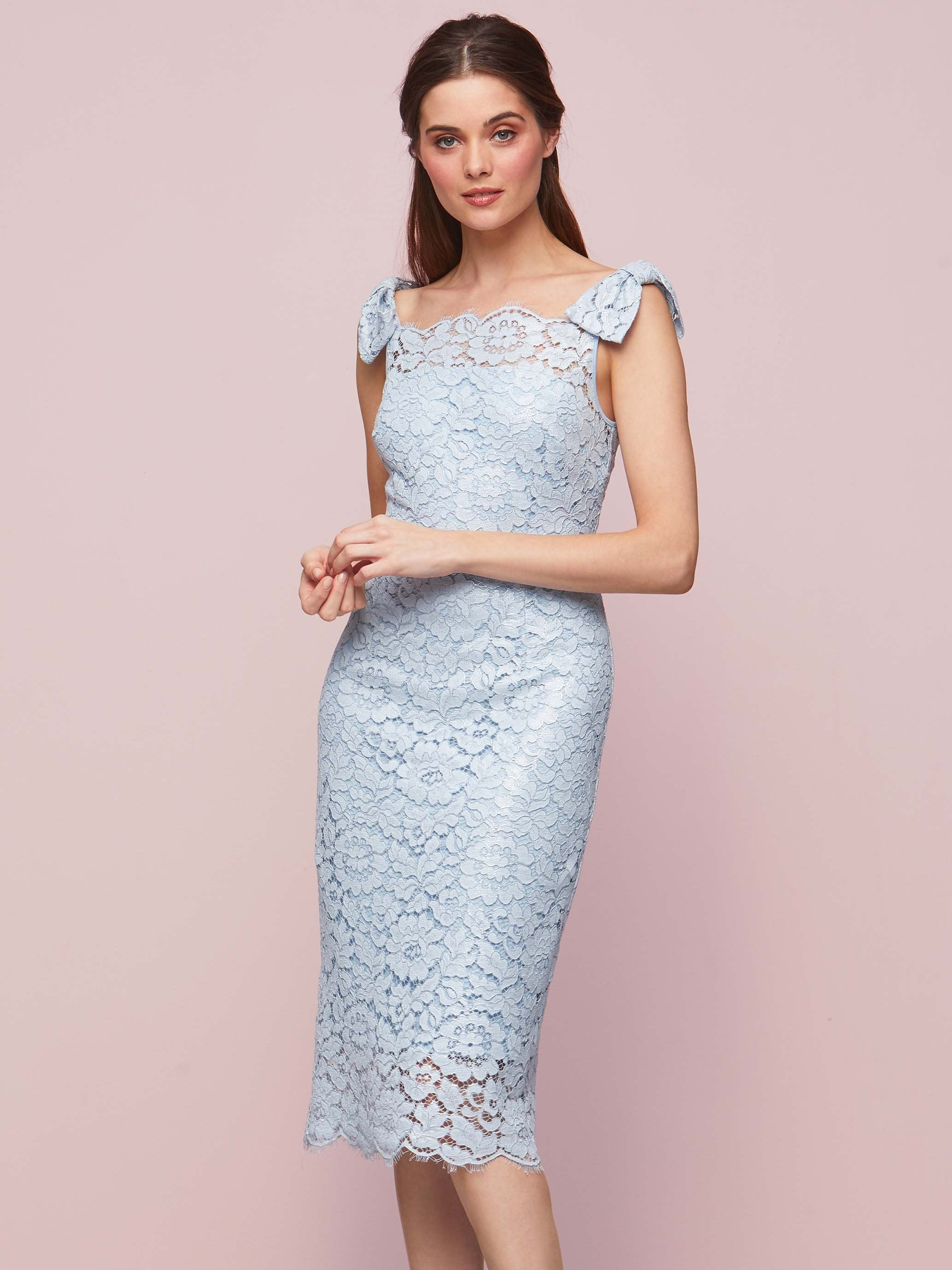 Gina Bacconi Blue Pearl Hazel Lace Bow Dress