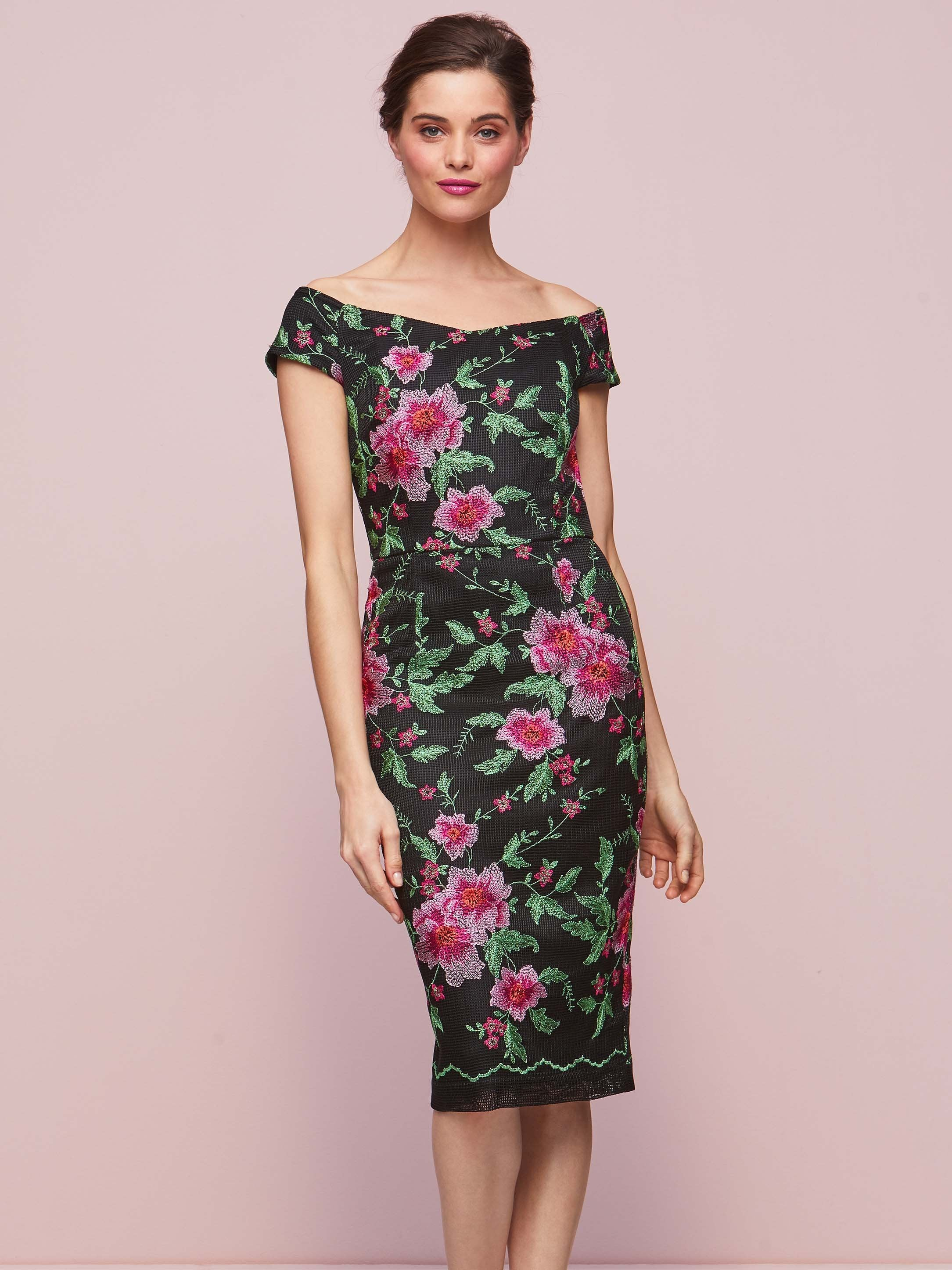 Gina Bacconi Blck/Pink Floral Embroidery Dress