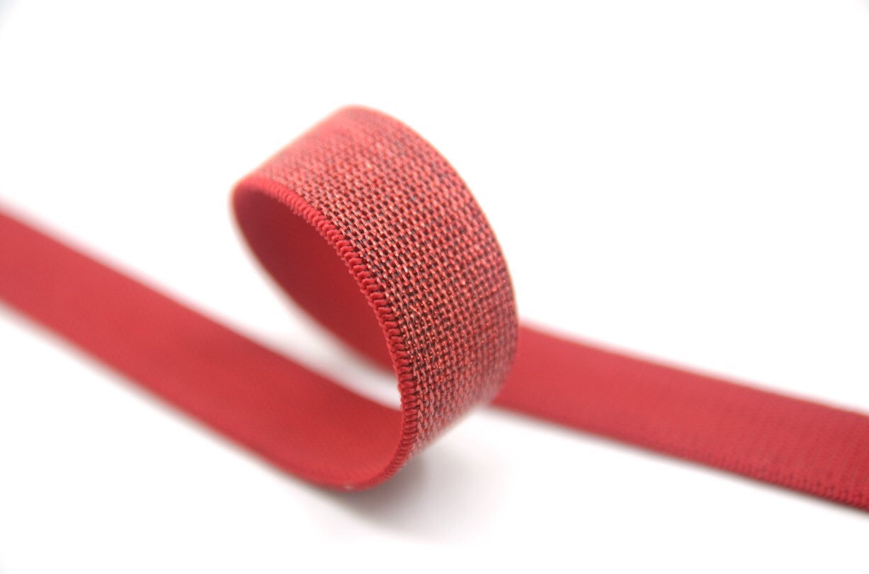 1 inch 25mm wide  Red Glitter Elastic by the yard - strapcrafts