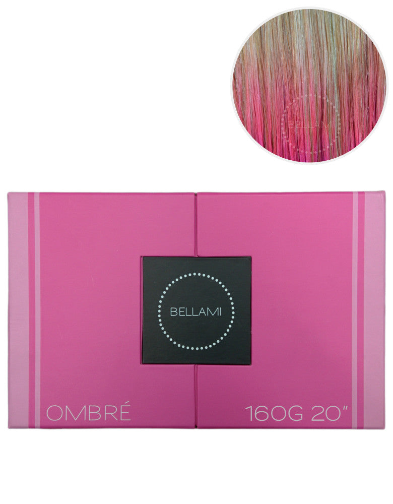 "BELLAMI 160g 20"" Ombre Dirty Blonde #18/Pastel Pink Hair Extensions"