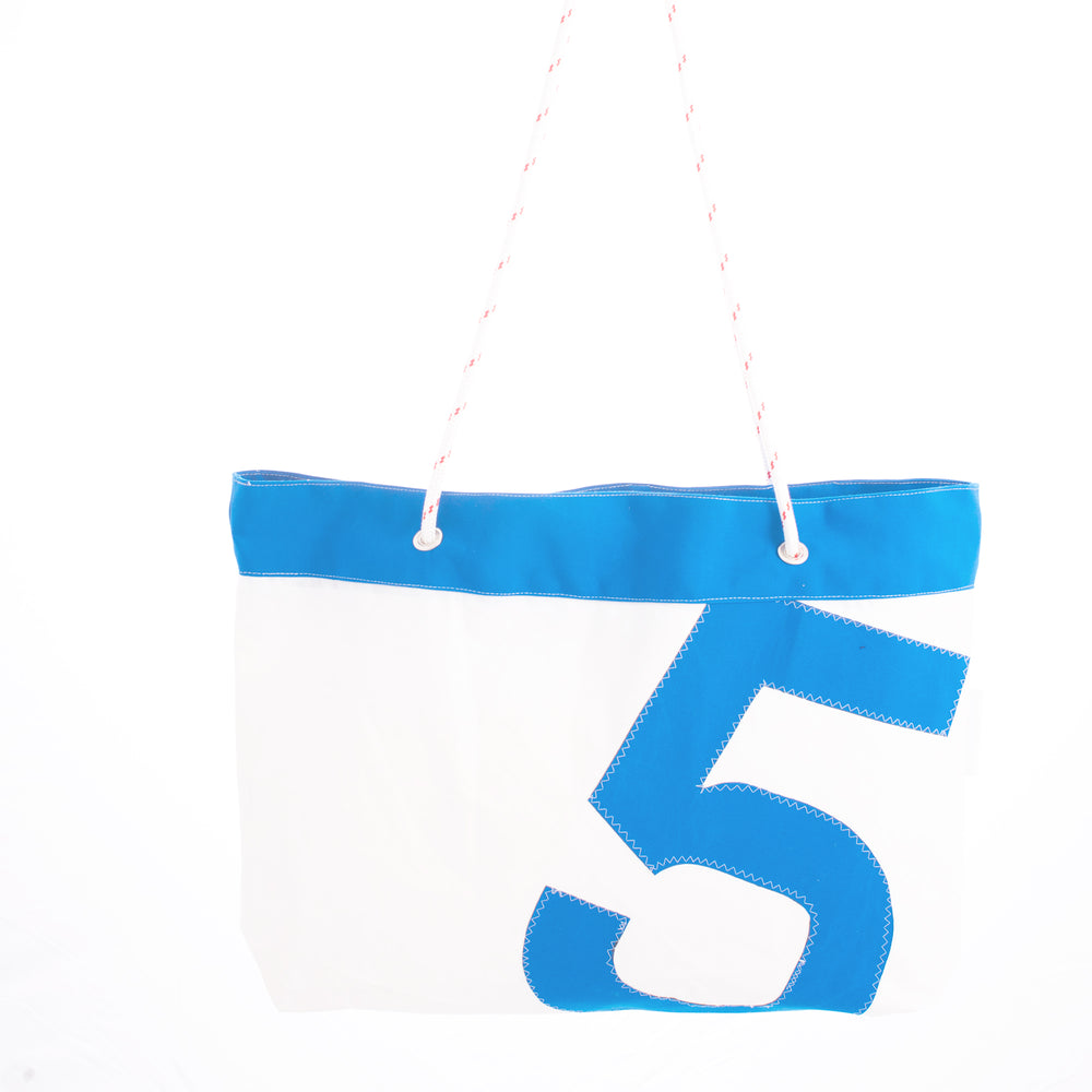 White and blue recycled sail giant tote beach bag