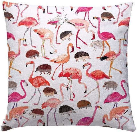 Cushion: Alice in Wonderland (Flamingos and Hedgehogs), designed by James Barker