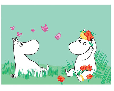 Print: Moomins - Moomintroll and Snorkmaiden Flowers
