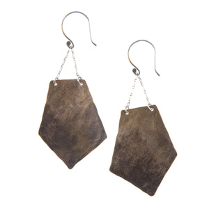 New Geo Ombre Fade Brass Silver Drop Earrings ^^^ Union Studio Metals