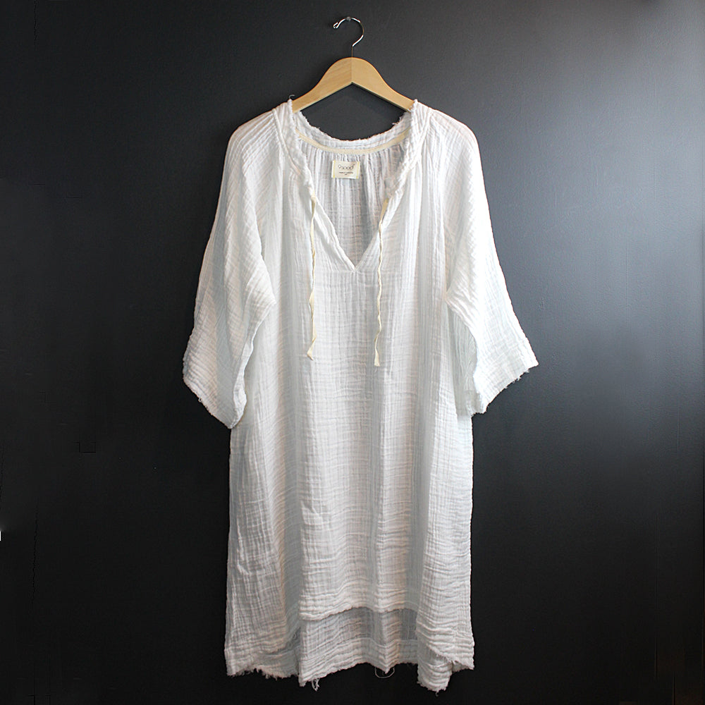 .White Cotton Mid Length Caftan