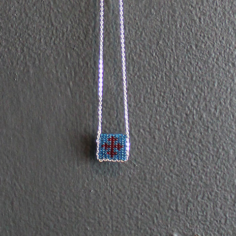 .Blue + Red Hand-beaded Cross Necklace