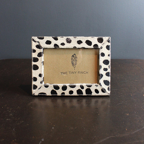 .Black + Cream Hide Frame - Dots