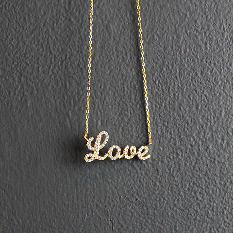 .Gold Plated Love Necklace