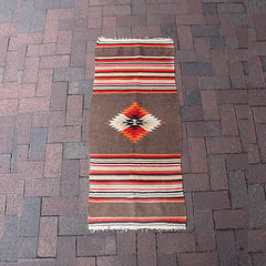 ".Multi Colored Handwoven Wool Rug - 1' 8"" x 3' 10"""
