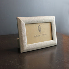 .Silver Faux Shagreen Frame