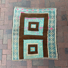 "Multi Colored Handwoven Turkish Rug - 2' 11"" x 3' 3"""