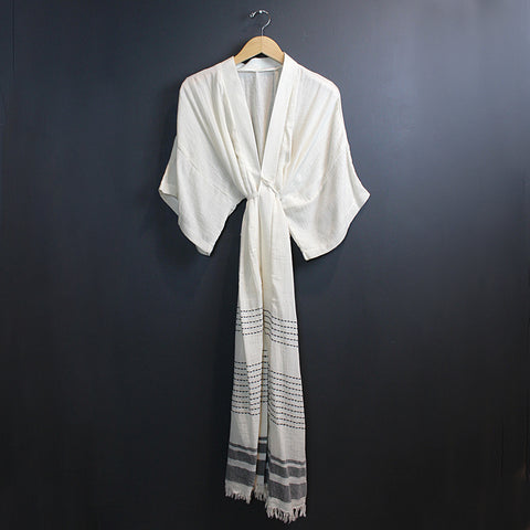 .Cream + Black Cotton Caftan