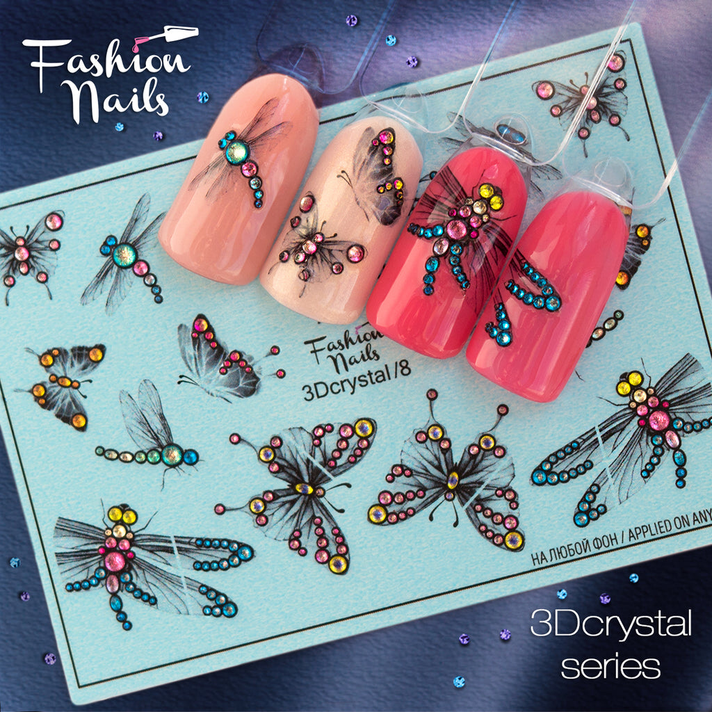 Fashion Nails - 3D Crystal 8 Water Decals