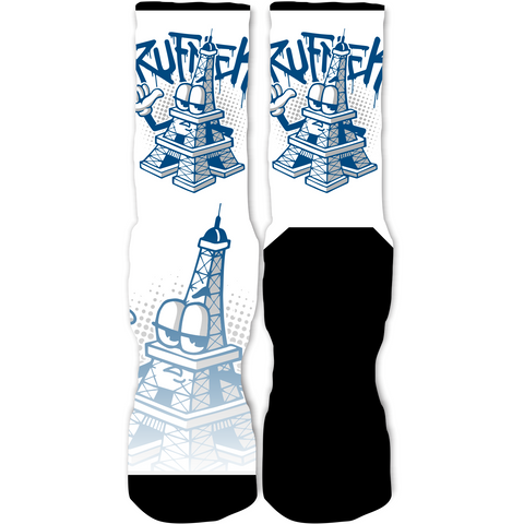 Rufnek Hardware Eiffel Tower French Blue 12's Socks