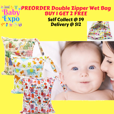 PREORDER ETA 1-15 Sept 2019 - Double Zipper Wet Bag (30 x 36cm) BUY 1 GET 2 FREE