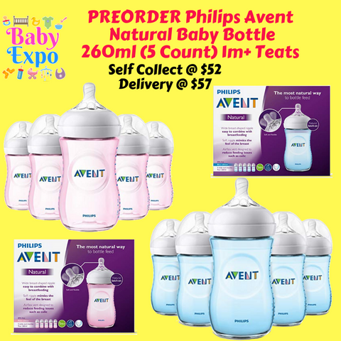 PREORDER ETA 1-15 Sept 2019 - Philips Avent Natural Baby Bottle 260ml (5 Count) 1m+ Teats