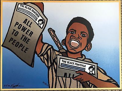 PAPER BOY BLACK PANTHER PARTY POSTER SIGNED EMORY DOUGLAS MINISTER OF ART JC61S