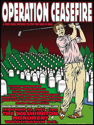 ORIGINAL MINT 2005 OPERATION CEASEFIRE IRAQ WAR PROTEST POSTER 2 CHRIS SHAW JC30
