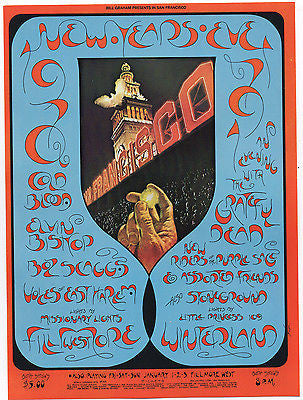 VINTAGE NEW YEARS EVE 70 GRATEFUL DEAD NEW RIDERS NRPS FILLMORE CONCERT POSTCARD