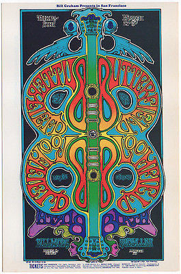 '69 BUTTERFIELD BLUES BAND MIKE BLOOMFIELD FILLMORE CONCERT POSTCARD BG166 IRONS