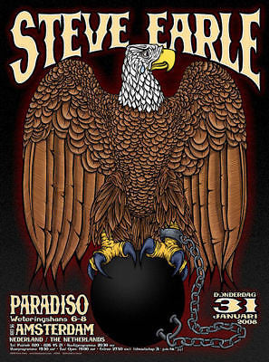 MINT STEVE EARLE PARADISO AMSTERDAM CONCERT POSTER